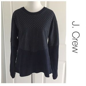 J. Crew Navy Striped Mixed Media Sweatshirt M